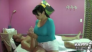 Myka showed how to apply oil in Meat Massage by HappyTugs