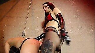 Mistress fucking slave with big black dildo