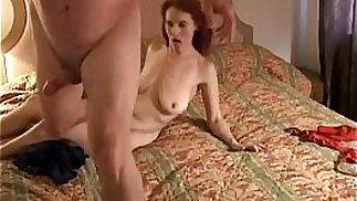Kinky old redhead is so horny she fucks the cameraman