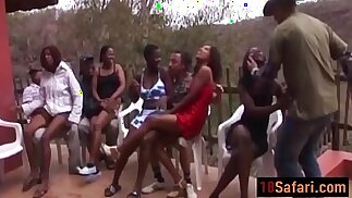 Hot interracial orgy session with nasty sluts on the party after a Safari