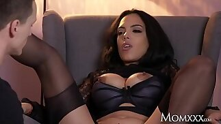 MOM Kinky big tits Latina MILF in stockings suspenders and high heels