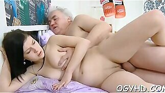Old man seduces young blonde babe