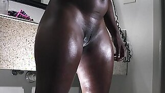 a big butt ebony slut gets ready for the fuck table