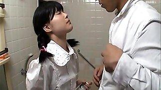 Horny Japanese teen in school uniform sucks cock Uncensored