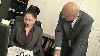 Old Boss fuck big tits secretary and cum covered her boobs