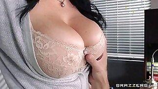 Boss wannabe fucks a super hot busty secretary at the office