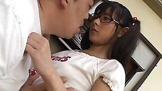 Japanese Schoolgirl In Uniform Plowed Deep In Her Hairy Slit